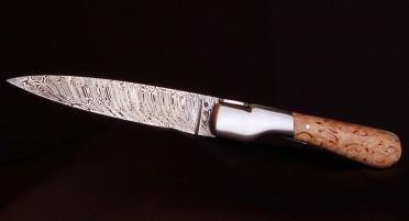 Couteau Corse Sperone Manche Bouleau frisé - Lame Damas