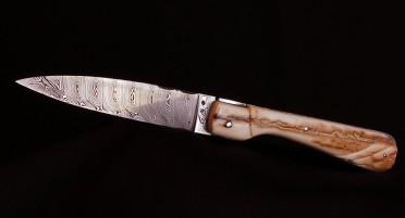 Couteau Corse Sperone Ivoire de Mammouth sculpté plein manche - Lame Damas
