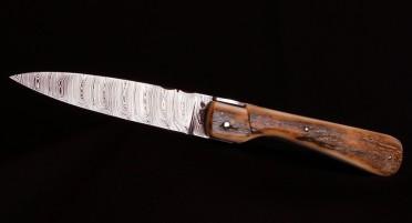 Couteau pliant Sperone plein manche en Ivoire de Mammouth Bleu - Damas