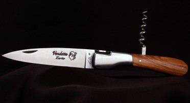 Vendetta Zuria knife and corkscrew with olive wood handle