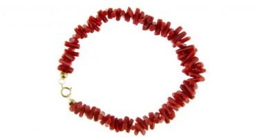 Bracelet en 1/2 Pointes de Corail rouge de Bonifacio et fermoir en Or jaune