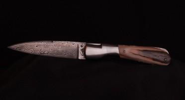 Couteau Corse Pialincu Ivoire de Mammouth Damas