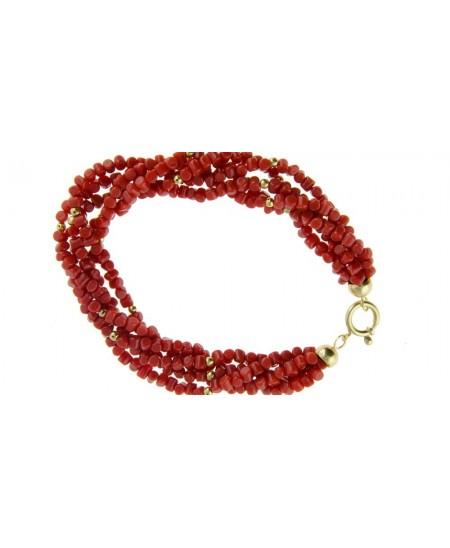 Bracelet Petits Tronçons Corail, 5 rangs