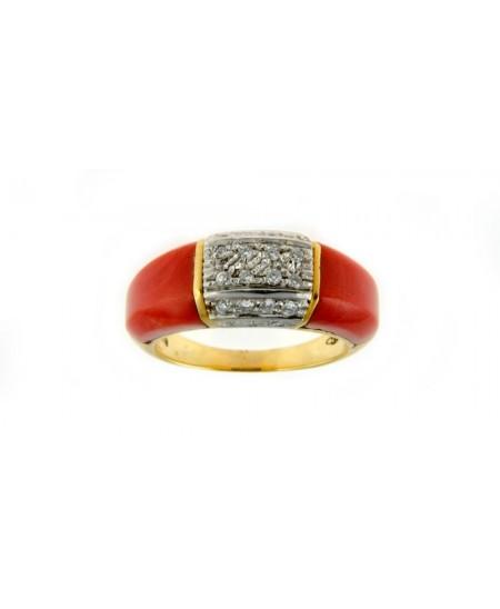 Bague 2 pièces Corail, Diamants et Or