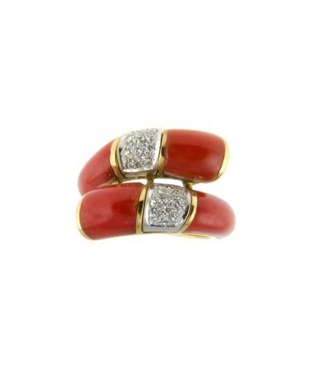 Bague Toi & Moi Corail, Diamants et Or