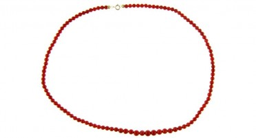 Bonifacio red coral pearl necklace and yellow gold clasp