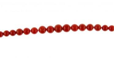 Collier en perles de Corail rouge de Bonifacio et fermoir en Or jaune