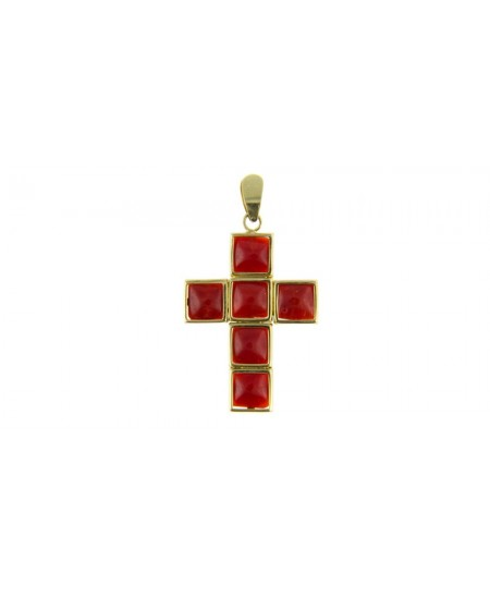 Pendentif Croix Corail et Or