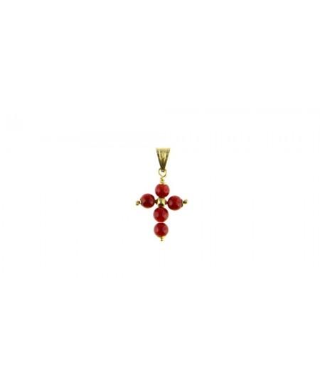 Pendentif Croix Perles Corail & Or