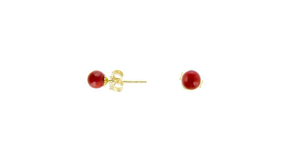 Red Coral Pearls and Gold Earrings