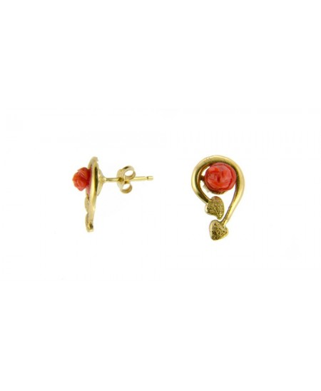 Boucles Roses en Corail, fantaisies Or