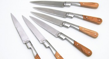 Set of 6 Vendetta table knives, olive handle and serrated blade