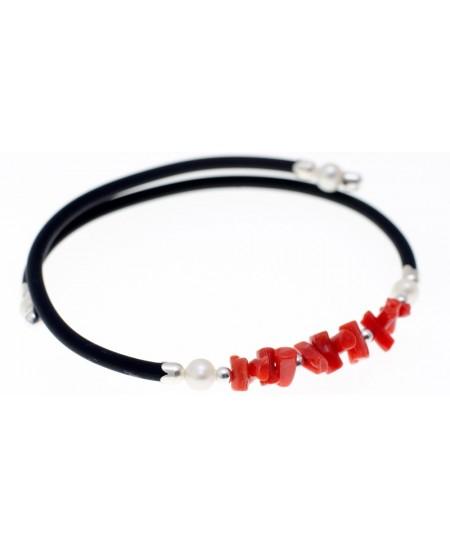Bracelet 1/2 Pointes Corail, Nacre, Argent