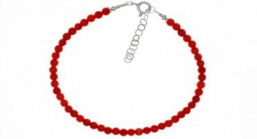 Bracelet Perles Corail, fermoir Argent