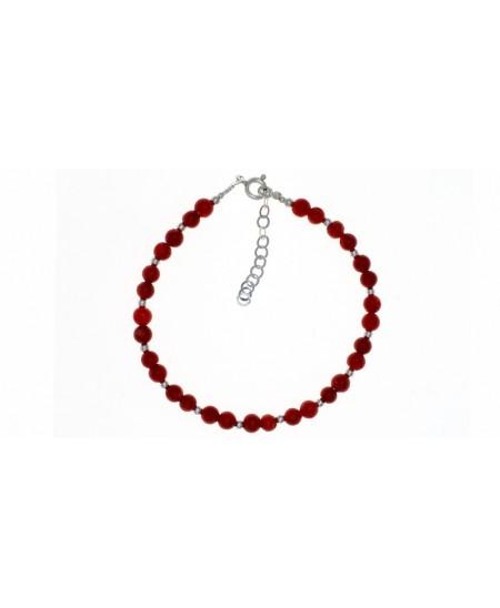 Bracelet Perles Corail et Argent, fermoir Argent