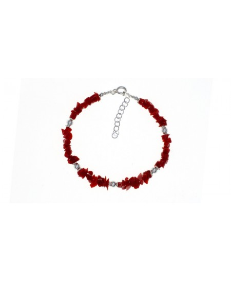 Bracelet Eclats de Corail et perles Argent