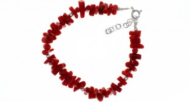 Bracelet in Red Coral with pearls in Silver - adjustable chain clasp in Silver