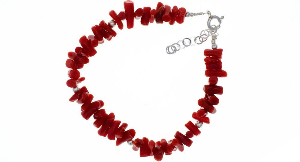 Bracelet 1/2 Pointes de Corail, Perles Argent