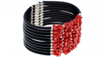 Bracelet 1/2 Pointes Corail, 10 rangs