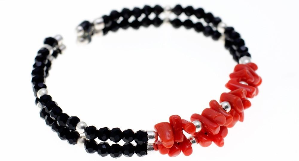 Bracelet 1/2 Pointes Corail, Onyx, 2 rangs