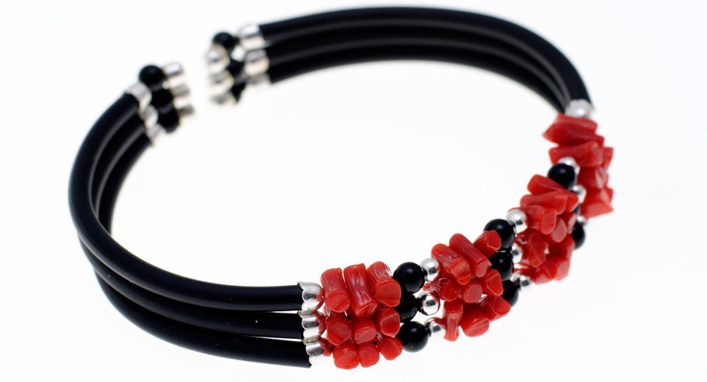Bracelet 1/2 Pointes Corail, Onyx, 3 rangs