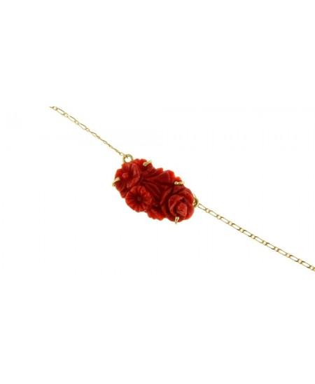 Collier Fleurs Corail, Chaine Or