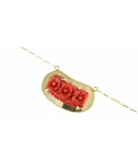 Collier 3 Fleurs Corail, Chaine Or
