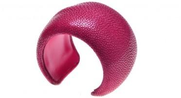 Bracelet manchette en Galuchat 60 mm
