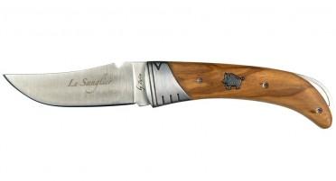 Couteau pliant imaginé en Corse avec inclusion Sanglier sur le manche en bois d'Olivier