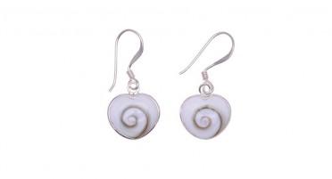 Boucles d'oreilles pendantes avec œil de Shiva et Argent - forme de cœur