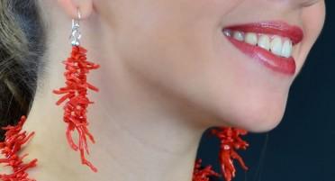 Bonifacio Coral Fringe and Silver Dangle Earrings