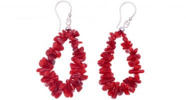 Boucles d'oreilles en Corail rouge et en Argent