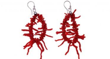 Boucles d'oreilles pendantes en Franges de Corail de Bonifacio et Argent