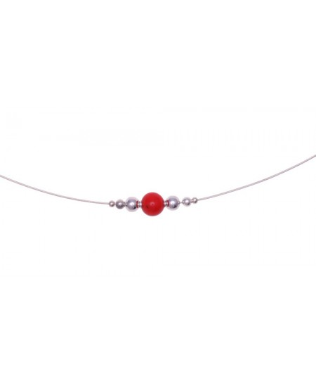 Collier Perle Corail, cable Argent