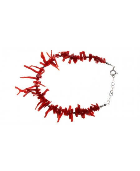 Bracelet Franges Corail, perles et fermoir Argent