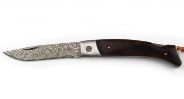 Couteau Corse en bois de Noyer et lame en Damas