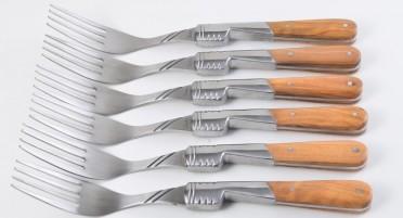 6 fourchettes Vendetta Zuria avec manche en bois d'Olivier