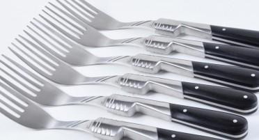 Set of 6 black Stamina forks