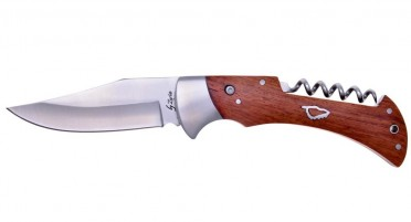 Folding knife with corkscrew - steel bolster and Arbutus handle - Safety with push-up button