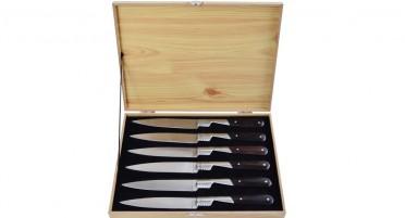 Coffret de 6 couteaux de table Vendetta Zuria - manches en Noyer