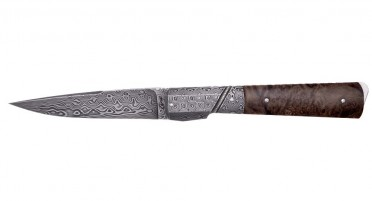 Le Kallisté knife with dark stabilized root handle - bolster and Damascus blade