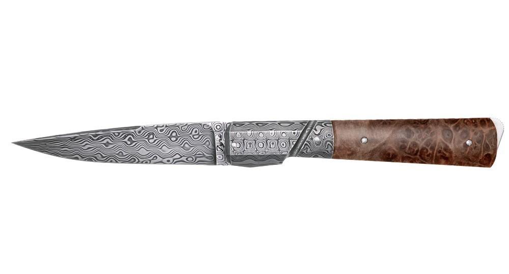 1dfccc3ea1d8 Couteau Corse artisanal numéroté. Couteau pliant avec manche en Racine  Stabilisé claire, mitre et lame damas et cran de sécurité