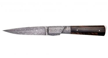 Couteau Le Kallisté en bois de Ziricote - mitre et lame en Damas