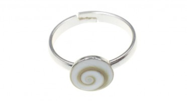 Adjustable children's ring, in silver with round Shiva eye
