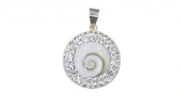 Silver pendant - eye of Shiva round and rhinestones