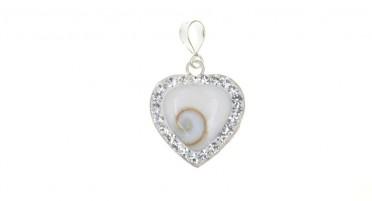 Silver pendant with eye of Shiva and rhinestones - heart shape