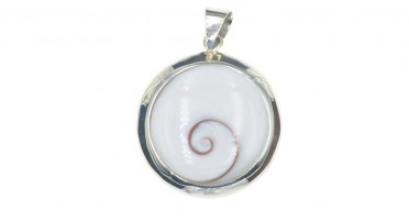 Large silver pendant with round eye of Shiva