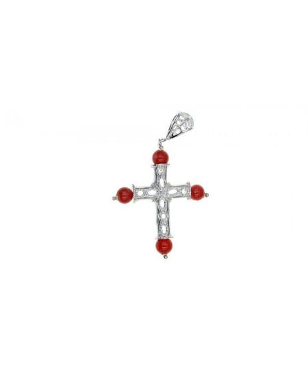 Pendentif Croix, perles Corail, Argent
