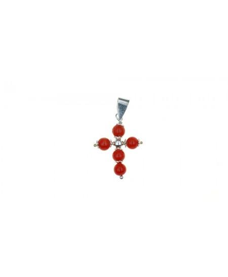Pendentif Croix, 5 perles en Corail