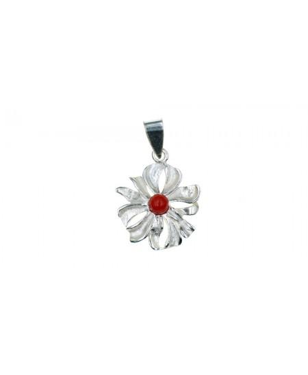 Pendentif Fleur argent, perle en Corail